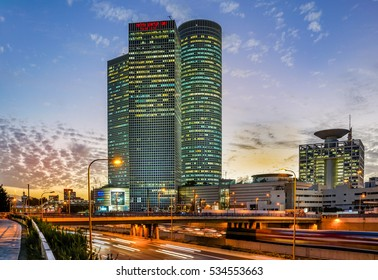TEL AVIV, ISRAEL - DECEMBER 06, 2016 : Sun set landscape  of Azrieli Center in Tel Aviv, Israel. Azrieli Center is the landmark of Tel Aviv.