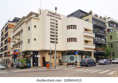 Tel Aviv, Israel- December 20, 2017: Street scene with Old Renovated Bauhaus Building in City Center of Tel Aviv.Bauhaus or International Style remain in Tel Aviv from the 1930s by German Jewish archi