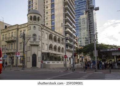 Tel Aviv, Israel- December 20, 2014: Old Renovated and modern Buildings in Rotshild Boulevardt Of Tel Aviv. Israel