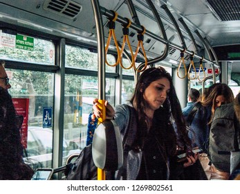 Tel Aviv Israel December 21, 2018 View of unknown Israeli people traveling on public transport of the city of Tel Aviv in the afternoon
