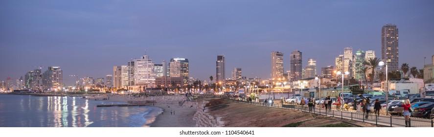 Tel Aviv, Israel - December 27 2017: The skyline of business district of Tel Aviv viewed from Jaffa Port.