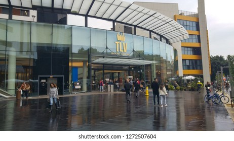 TEL AVIV, ISRAEL. December 31, 2018. TLV Fashion Mall main entrance on the Hashmonaim street on a rainy day. It's a brand new trading center in downtown Tel Aviv.
