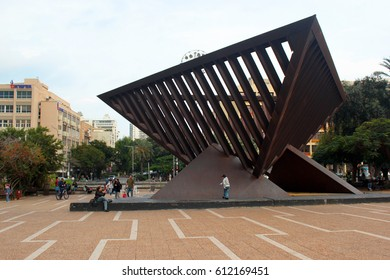 TEL AVIV, ISRAEL - DECEMBER 7,2013: Holocaust memorial by Igael Tumarkin on central Yitzhak Rabin square, named so after his assassination here in 1995.