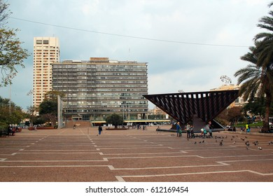 TEL AVIV, ISRAEL - DECEMBER 7,2013: Yitzhak Rabin square, named so after his assassination here in 1995. City Hall and Holocaust memorial by Igael Tumarkin.