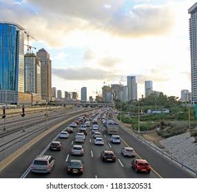 Tel Aviv, Israel - December 8, 2017: highway and skyscrapers in Tel Aviv, Israel