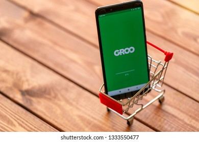Tel Aviv, Israel. February 15,2019: Smartphone with Groo application on a screen in shopping cart.