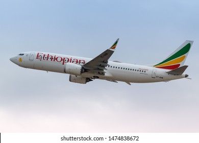 Tel Aviv, Israel – February 18, 2019: Ethiopian Airlines Boeing 737 MAX 8 airplane at Tel Aviv airport (TLV) in Israel.