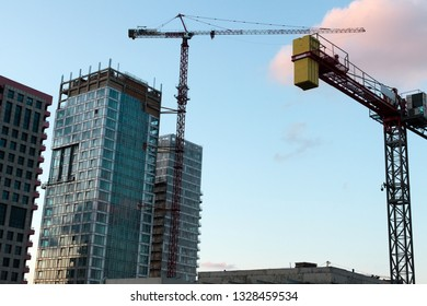 Tel Aviv, Israel - February 21 2019: Construction of High rise buildings in process.