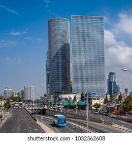 TEL AVIV, ISRAEL - FEBRUARY 23, 2018 : Cityscape of Azrieli Center and surrounding new skyscrapers in Tel Aviv, Israel.
