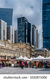TEL AVIV, ISRAEL - FEBRUARY 23, 2018 : Flea market over Sarona new skyscrapers in Tel Aviv, Israel.