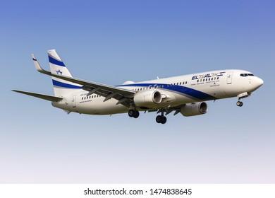 Tel Aviv, Israel – February 24, 2019: El Al Israel Airlines Boeing 737-900ER airplane at Tel Aviv airport (TLV) in Israel.