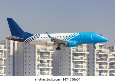 Tel Aviv, Israel – February 24, 2019: Egyptair Express Embraer 170 airplane at Tel Aviv airport (TLV) in Israel.