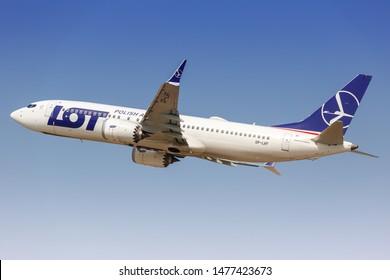 Tel Aviv, Israel – February 24, 2019: LOT Polish Airlines Boeing 737-8 MAX airplane at Tel Aviv airport (TLV) in Israel.