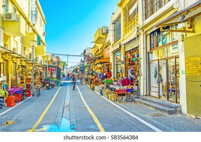 TEL AVIV, ISRAEL - FEBRUARY 25, 2016: The flea market neighborhood is the best place to choose unusual souvenirs and interesting gifts from old Jaffa, on February 25 in  Tel Aviv.