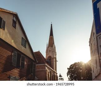 TEL AVIV, ISRAEL - February 27, 2021: Immanuel Lutheran Church in American Colony in Tel-Aviv-Jaffa. Israel