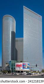 TEL AVIV, ISRAEL - JANUARY 01, 2015 : Three towers of Azrieli Center in Tel Aviv, Israel  on January 01, 2015. Azrieli Center is the landmark of Tel Aviv.