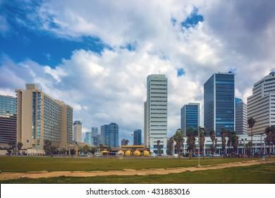 TEL AVIV, ISRAEL - JANUARY 1, 2016: Gorgeous Tel Aviv promenade in stormy weather. Warm winter