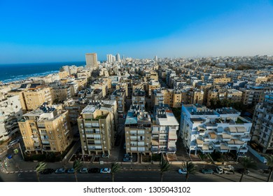 Tel Aviv, Israel - January 10, 2019: Aerial View to the Stone Houses of the Old City