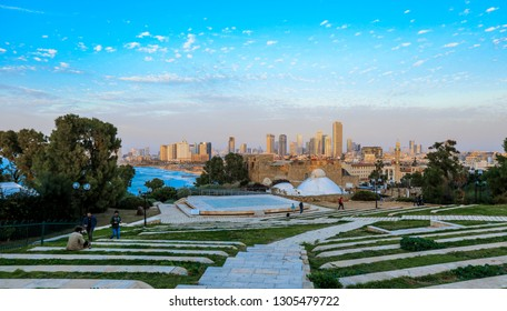Tel Aviv, Israel - January 10, 2019: Evening Promenade under the Blue Cloudy Sky in the Old City of Jaffa