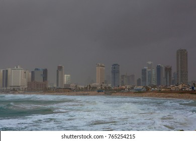 TEL AVIV, ISRAEL - JANUARY 19, 2016: View of Tel Aviv and the Mediterranean coast before the storm as seen from the old Jaffa