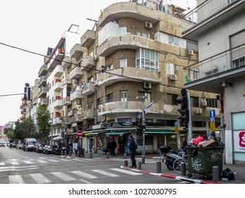 Tel Aviv, Israel - January 2, 2018:  Walking in Florentin street , a new growing area of the city. new bar and restaurant, murales on the walls, new design shops and young people.