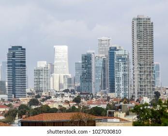 Tel Aviv, Israel - January 2, 2018:  Panoramic skyline of the new buildings  of Tel-Aviv  looking from Jaffa.