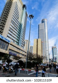 Tel Aviv, Israel - January 3, 2018:  view from below of tall modern skyscrapers in the new city
