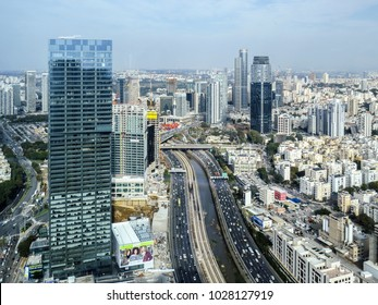 Tel Aviv, Israel - January 3, 2018:  view from Azrieli Observatory tower. Tel Aviv is bound to grow and develop and spread along the seaside and from both sides of the Yarkon River.