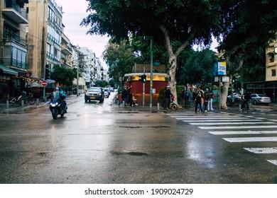 Tel Aviv Israel January 30, 2021 View of unidentified Israeli people walking in the streets of Tel Aviv during lockdown and Coronavirus outbreak hitting Israel