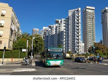 TEL AVIV, ISRAEL. January 6, 2016. The Egged on the Namir road in Tel Aviv, Israeli public transportation stock photo.
