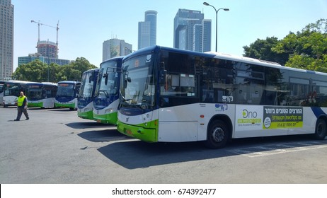 "TEL AVIV, ISRAEL. July 10, 2017. ""Kavim"" and ""Afikim"" passenger buses lined up at the Arlozorov 2000 bus terminal in central Tel Aviv. ""Kavim"" and ""Afikim"" are alternative bus companies."