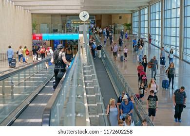 TEL AVIV, ISRAEL - JULY 18, 2018: Ben Gurion Airport. Interior