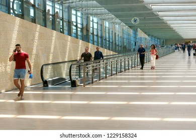 TEL AVIV, ISRAEL - JULY 18, 2018: Ben Gurion Airport. Passengers in summer. Transition from one terminal to another