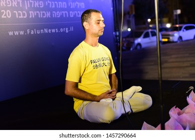 "Tel Aviv, Israel- July 20, 2019 Activists marking 20 years to the beginning of Falun Gong (Falun Dafa) persecution in China - During a screening of ""Letter from Masanjia"" at the Tel Aviv cinematheque"