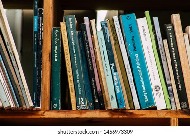 Tel Aviv Israel July 21, 2019 View of an ample selection of used Hebrew and English books in a warm, comfy space with a cafe and a patio located at The Little Prince bookshop in Tel Aviv