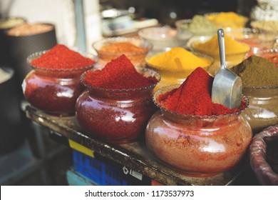 Tel Aviv, Israel. July 25, 2018. Spices on Tel Aviv Carmel Market, israel travel photo