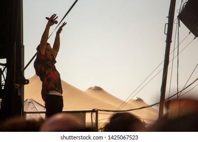 Tel Aviv / Israel - Jun 14 2019: Harel  Skaat at gay pride festivals at Charles' Clore Park