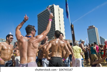 TEL AVIV , ISRAEL - JUNE 08  : An unidentified Israelis takes part in a beach party at Gordon beach followed the annual Gay pride in Tel Aviv on June 08 2012