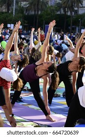 Tel Aviv, Israel- June, 21, 2017: People practise yoga during the International Yoga Day