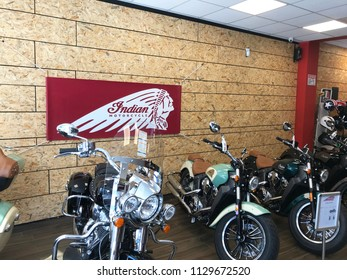 TEL AVIV, ISRAEL - JUNE 24, 2018: Indian Motorcycle showroom in the Florentin District of Tel Aviv. The area is likened to NY's SOHO.