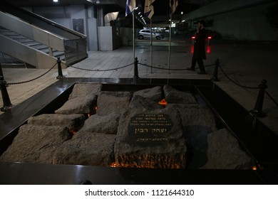 TEL AVIV, ISRAEL - JUNE 25, 2018: Memorial in honor of late Prime Minister of Israel Yitzhak Rabin, who was murdered in October 1995 supposedly in this spot in Tel Aviv, Israel