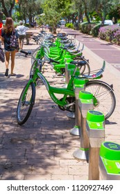 "Tel Aviv, Israel - June 9, 2018: Rental city bike station named ""Telofan"" in Tel Aviv, Israel. The Telofan is provided by the municipality of Tel Aviv-Yafo."