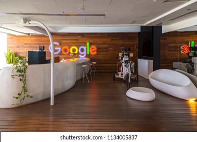 Tel Aviv, Israel - June 9, 2018: Interior view of Google Office in Tel Aviv. Creative and entertaining environment was created for the team. The building is located on Ayalon Highway.