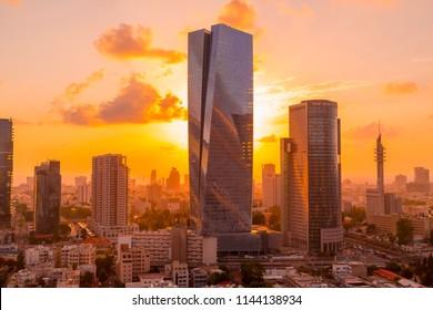 Tel Aviv, Israel - June 9, 2018: Exterior view of the Azrieli Sarona Tower, in Sarona district next to the openair market, Tel Aviv, Israel