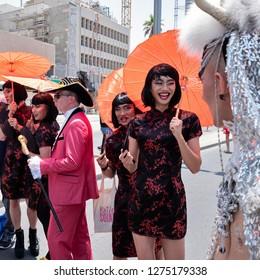 TEL AVIV, ISRAEL - JUNE 9, 2018: A man dressed in drag marches in the Gay Parade in Tel Aviv, Israel in 2018.