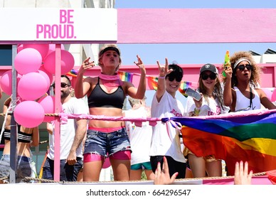 Tel Aviv, Israel- June 9, 2017: Israelis take part in the annual Gay Pride parade in the Israeli city of Tel Aviv