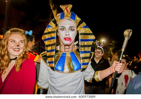 TEL AVIV, ISRAEL. March 11, 2017. Unknown participant dressed as a dead pharaoh at the Zombie Walk Tel Aviv 2017. Zombie parade traditionally takes place in the days of the Jewish holiday Purim.