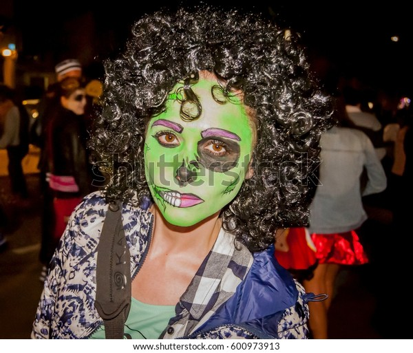 TEL AVIV, ISRAEL. March 11, 2017. Unknown participants of the Zombie Walk Tel Aviv 2017. Zombie parade traditionally takes place in the days of the Jewish holiday Purim.