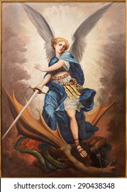 TEL AVIV, ISRAEL - MARCH 2, 2015: The paint of archangel Michael from st. Peters church in old Jaffa by P. Zalarn from end of 19. cent.