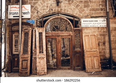 TEL AVIV, ISRAEL - MARCH 24, 2014: Facade of old building in Old Jaffa District on March 24, 2014 in Tel Aviv, Israel